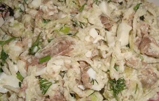Салат из печени с брынзой