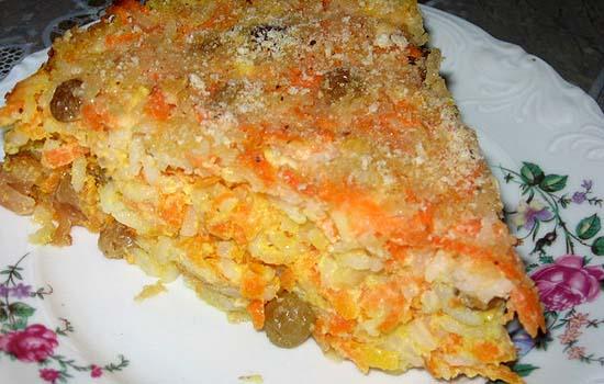 Запеканка из риса и моркови