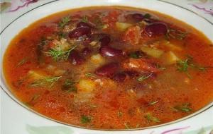 Суп из говядины и фасоли