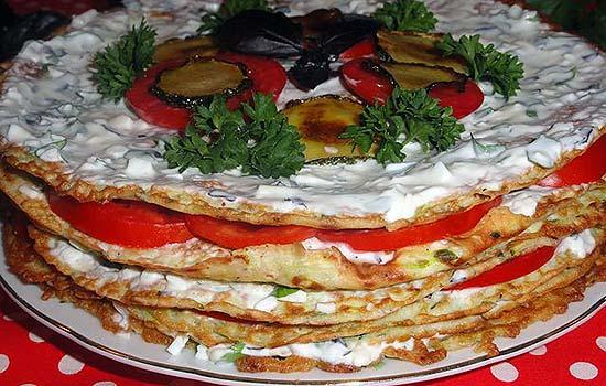 Торт из кабачков с сырной начинкой