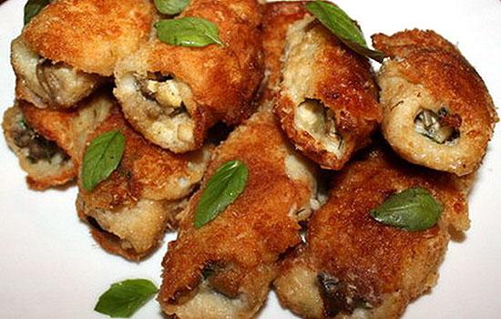 Рыбные рулеты с сырной начинкой