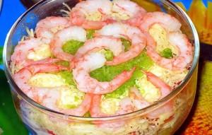 Салат с цветной капустой и креветками