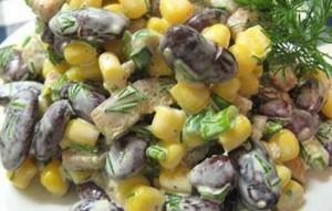 Салат с фасолью и консервированной кукурузой