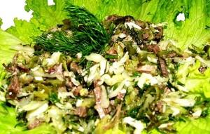 Салат с телятиной и консервированной кукурузой
