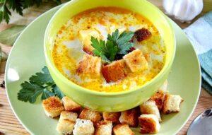 Суп овощной с твердым сыром