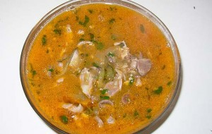 Суп с куриными сердечками