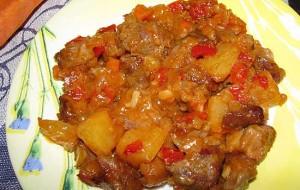 Рагу из овощей и языка